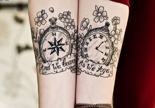 Compass Clock Wrist Tattoos
