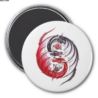 Cool Dragon Yin Yang Tattoo Refrigerator Magnet