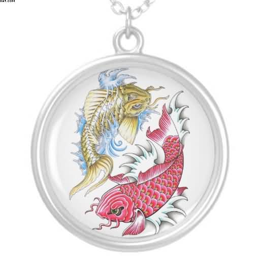 Cool Oriental Koi Fish Red Gold Yin Yang Tattoo Necklace