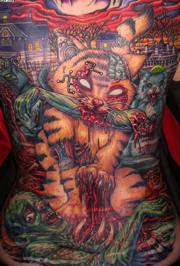 Cool Zombie Tattoos On Back Of Body