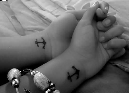 Couple Anchor Tattoos On Wrists