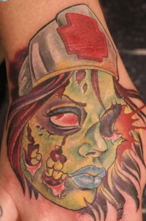 Crazy Zombie Girl Head Tattoo On Hand