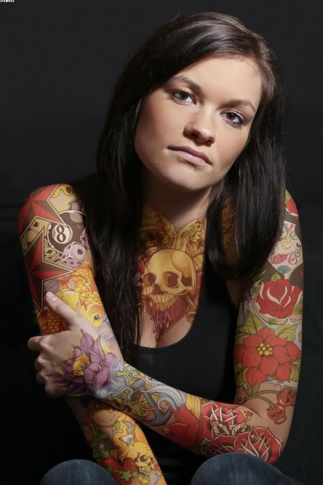 Creativity Full Sleeve Tattoos For Women