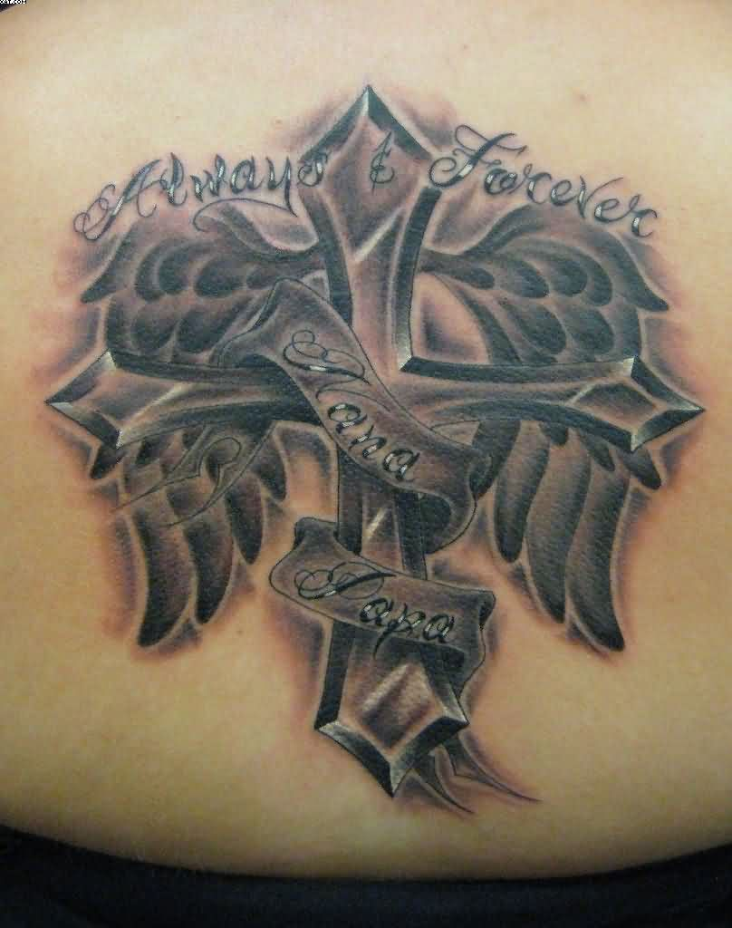 Cross With Tribal Wings Tattoo On Waist
