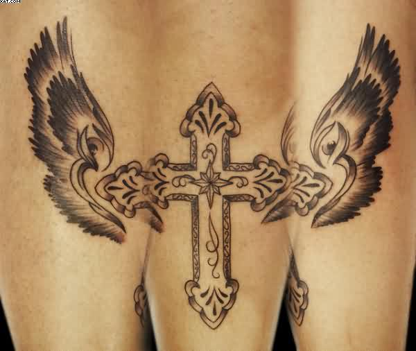 Cross With Wings Tattoos
