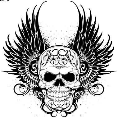 Crown And Skull Wings Tattoo Stencil