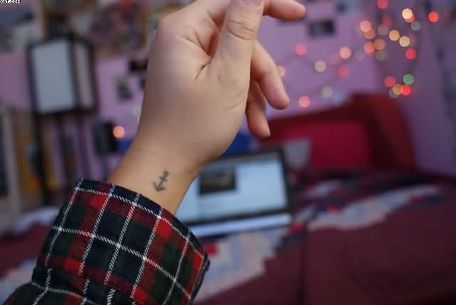 Cute Anchor Symbol Wrist Tattoo