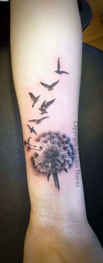 Dandelion And Birds Tattoos On Wrist
