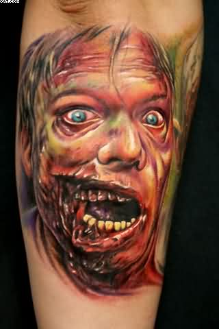 Dangerous Zombie Face Tattoo On Arm