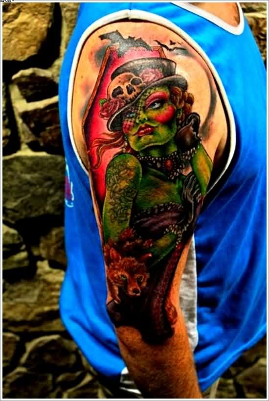 Dangerous Zombie Lady Tattoo On Arm