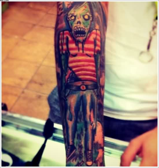 Dangerous Zombie Tattoo On Arm