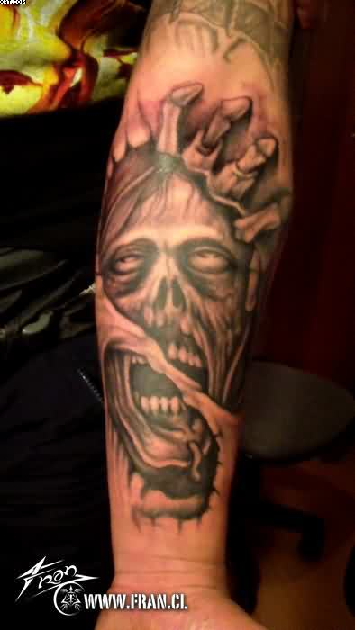 Dangerous Zombie Tattoo On Forearm