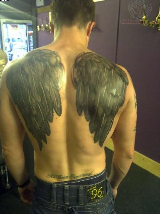 Dark Angel Wings Tattoos On Back Body
