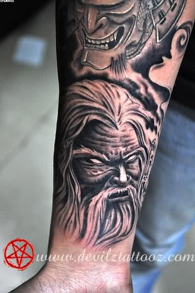 Demon Wizard Warrior Tattoos On Lower Arm