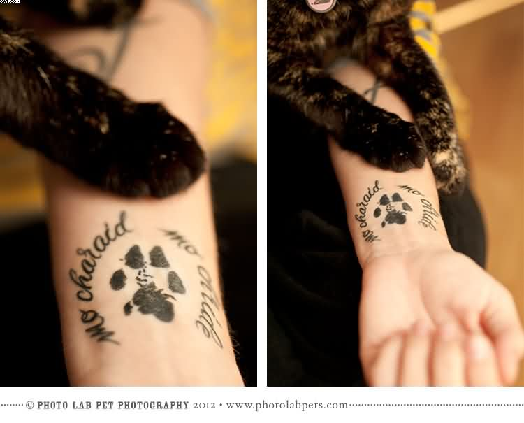 Dog Paw Print Tattoos On Wrist