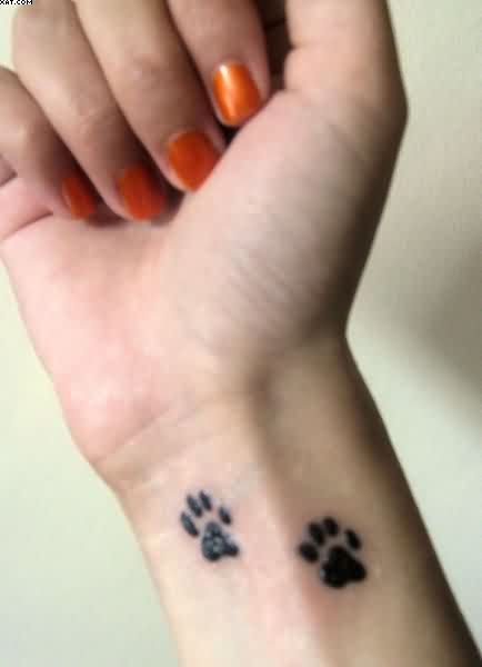 Dog Paw Prints Tattoos On Wrist