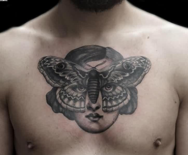Dotwork Moth Woman Chest Tattoo