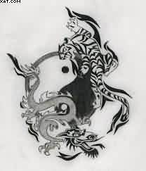 Dragon And Tiger Ying Yang Tattoo Design