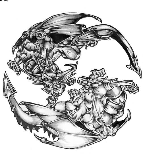 Dragons Yin Yang Tattoo Sample | Tattoobite.com