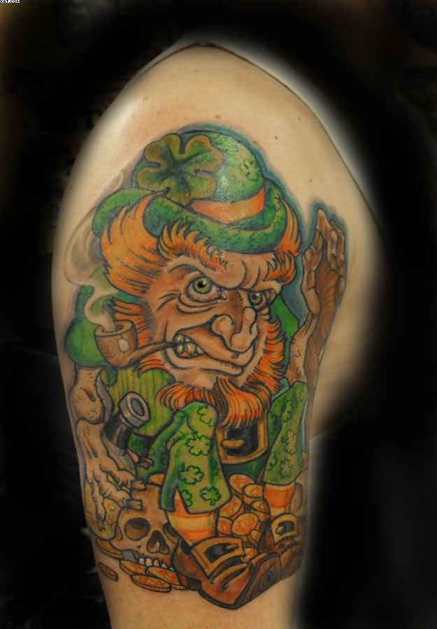 Evil Leprechaun Tattoo On Biceps