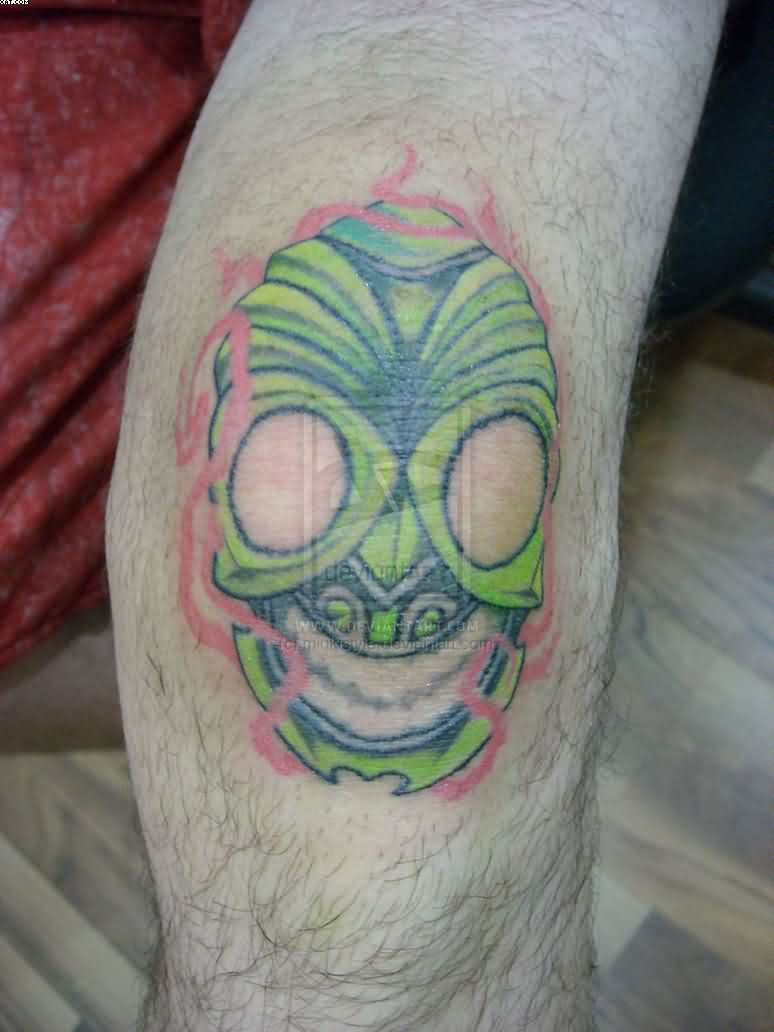 Evil Mask Knee Tattoo