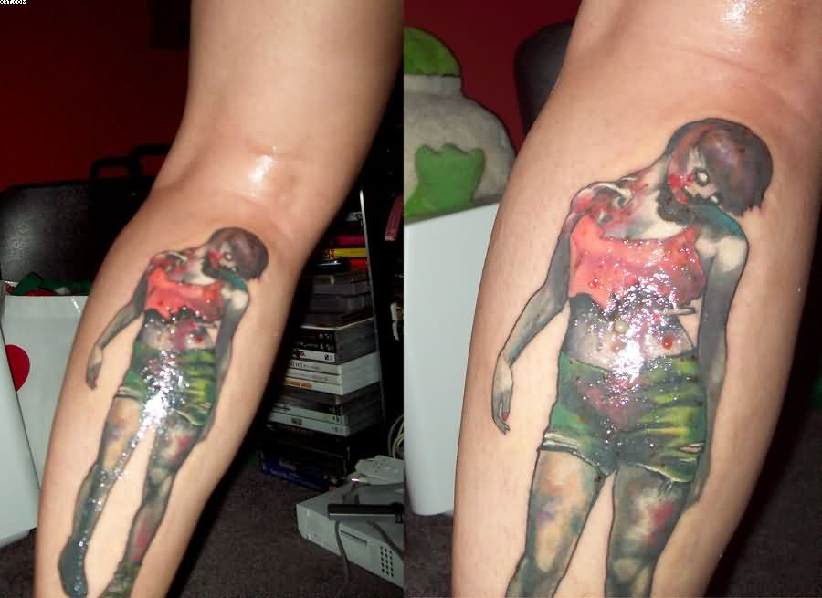 Evil Zombie Pin Up Girl Tattoos