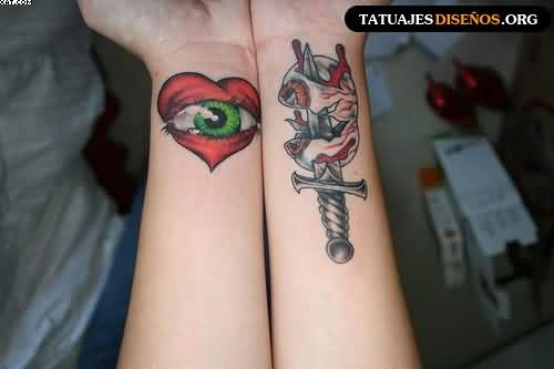Eye Heart And Dagger Tattoos On Wrist