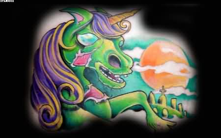 Fine Zombie Unicorn Tattoo