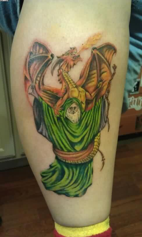 Fire Breathing Dragon And Green Wizard Tattoo On Leg