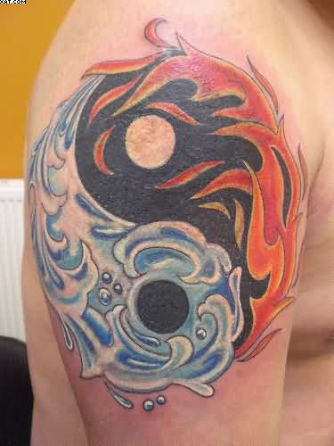 Fire Water Yin Yang Tattoo On Biceps