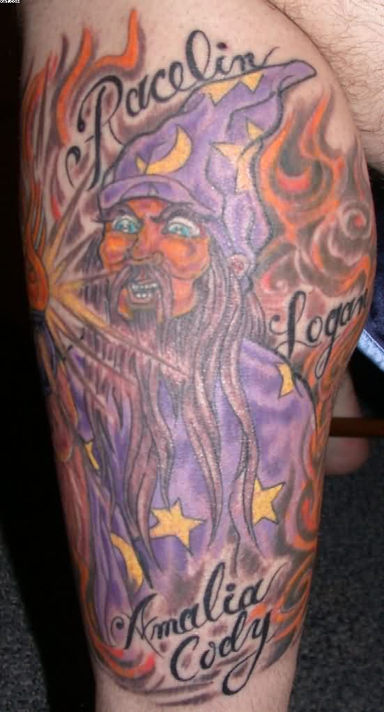 Flaming Wizard With Blue Eyes Tattoo