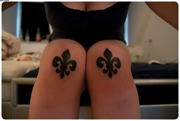 Fleur De Lis Tattoos On Both Knees