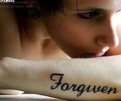 Forgiven Word Tattoo On Wrist For GirlsForgiven Word Tattoo On Wrist For Girls