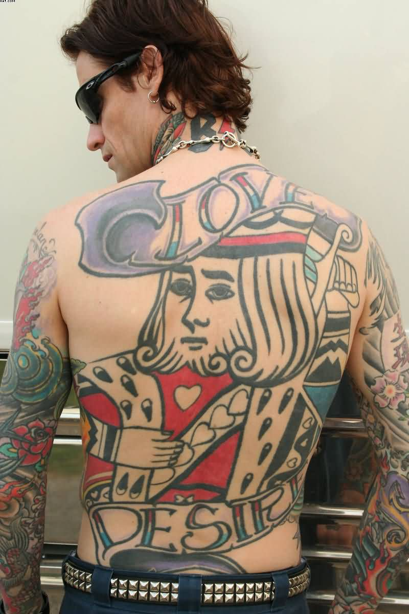Full Back King Tattoo For Guys