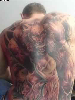 Full Back Wild Wolf Tattoo