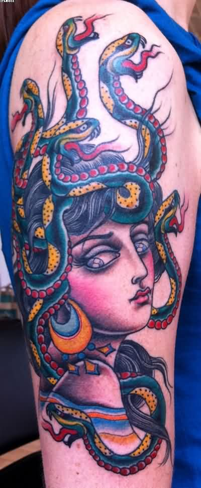 Full Color Medusa Tattoo On Arm