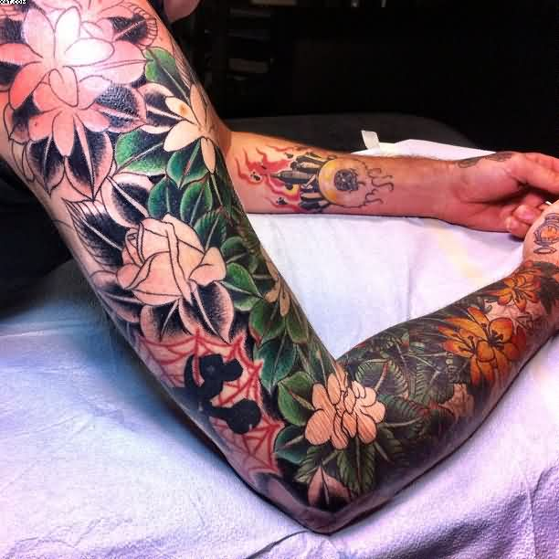 Full Sleeve Leafs And Roses Tattoos