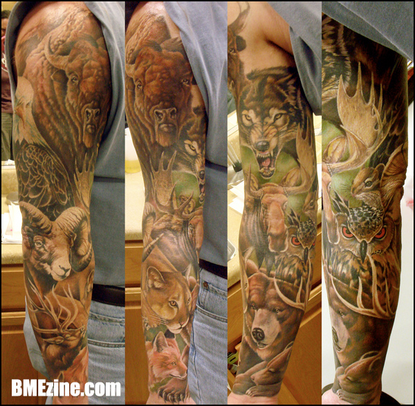Full Sleeve Wild Animals Tattoos