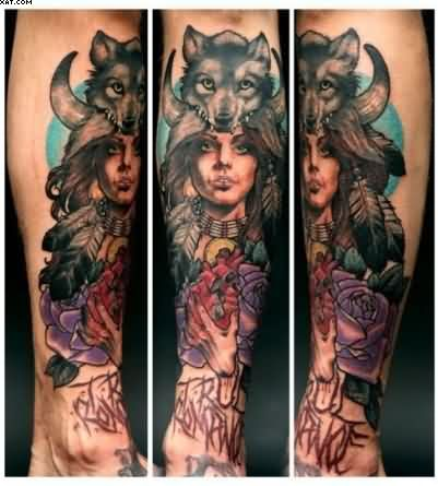 Girl And Wolf Tattoos On Arm