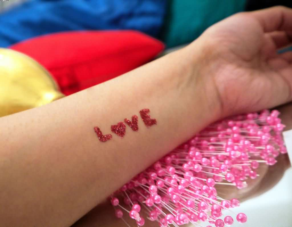 Glitter Love Tattoo On Wrist