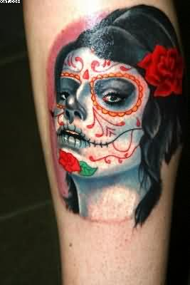 Glowing Mexican Sugar Skull Zombie Tattoo