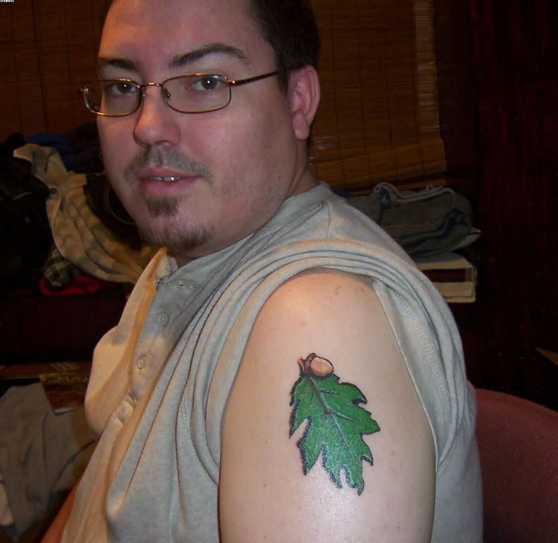 Green Leaf Tattoo On Shoulder For Men