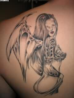 Grey Ink Angel Devil Wings Tattoo On Back Shoulder