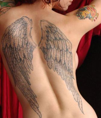 Grey Ink Angel Wings Tattoo On Sexy Back