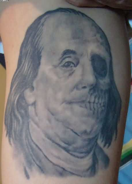 Grey Ink Celebrity Zombie Face Tattoo