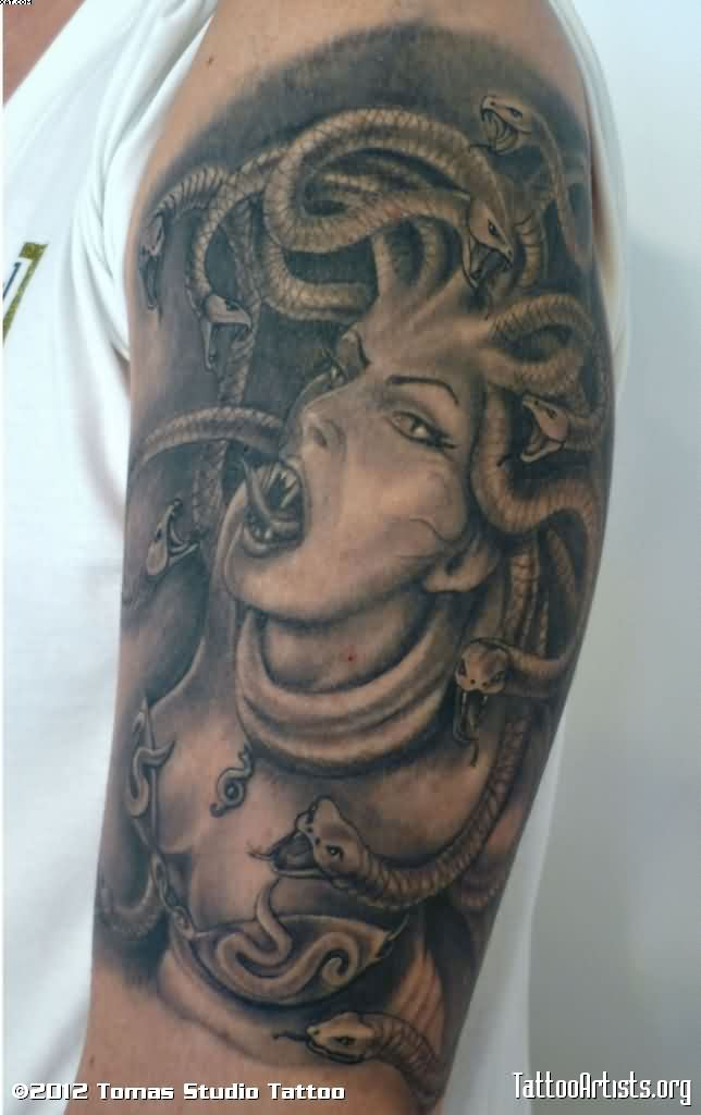 Grey Ink Medusa Tattoo On Half Sleeve