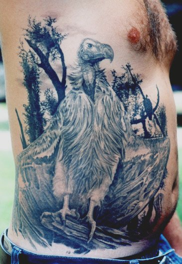 Grey Ink Wildlife Tattoos On Rib Side