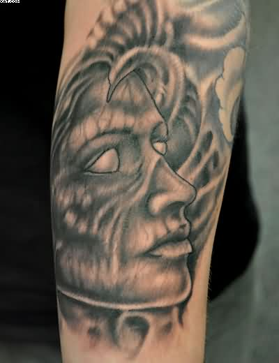 Grey Ink Zombie Face Tattoo