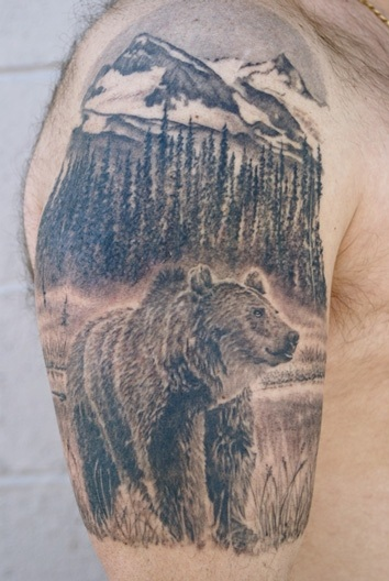 Half Sleeve Bear Mountain Wildlife Tattoos