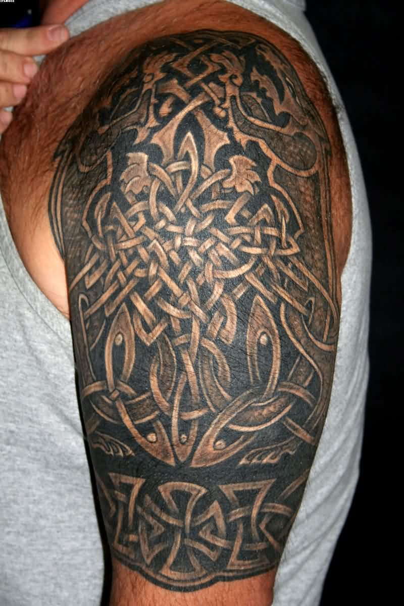 Half Sleeve Celtic Knot Tattoos For Men